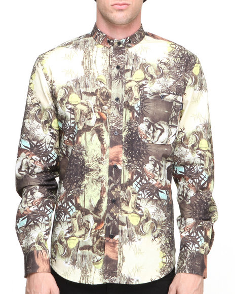 Blvck Scvle - Men Green Sultan Printed Oxford L/S Button