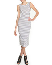 Women - Low Back Striped Midi Dress
