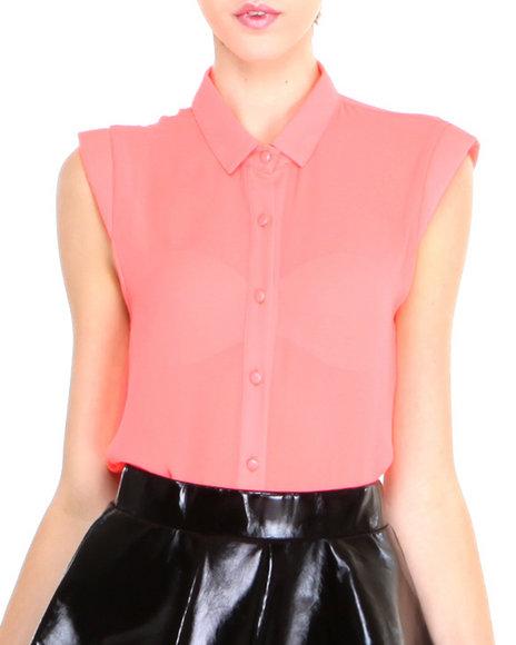Glamorous - Women Pink Neon Cap Sleeve Woven
