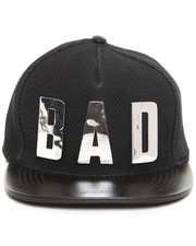 "Hats - LEATHER ""BAD"" SNAP BACK HAT"