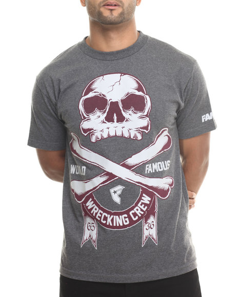Famous Stars & Straps - Men Charcoal Wrecking Bones Tee