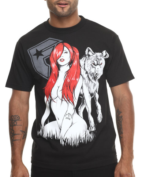 Famous Stars & Straps Black Wolf Girl Tee
