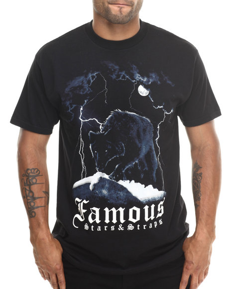 Famous Stars & Straps - Men Black Big Wolf Tee