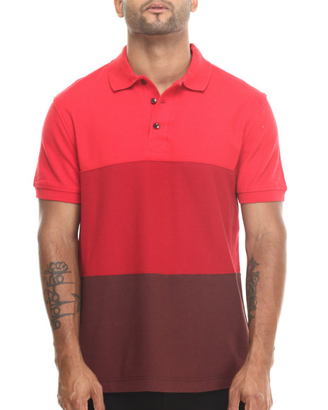 Basic Essentials - Men Red Basic Wide - Stripe S/S Polo