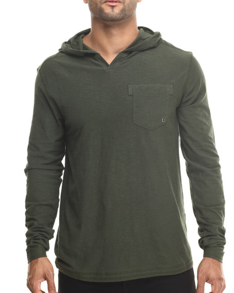 Buyers Picks - Men Forest Green Notch Neck Pullover Hoody - $31.99