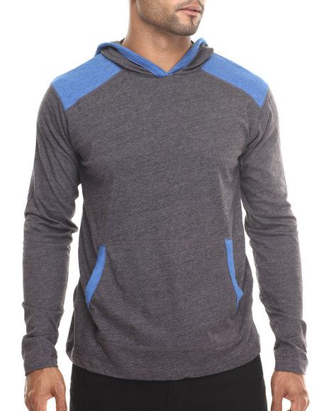 Buyers Picks - Men Grey Blender Contrast Sports Hoody - $28.99