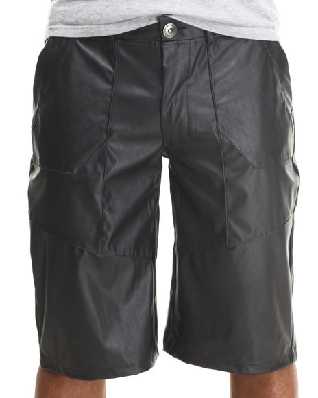 Well Established Black Well Faux Leather Shorts