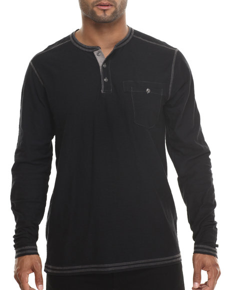 Buyers Picks - Men Black Single Pocket Henley L/S Shirt