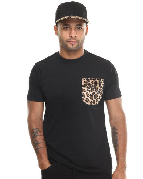 Basic Essentials - Men Black Barefox Leopard - Print Snapback / Tee Set