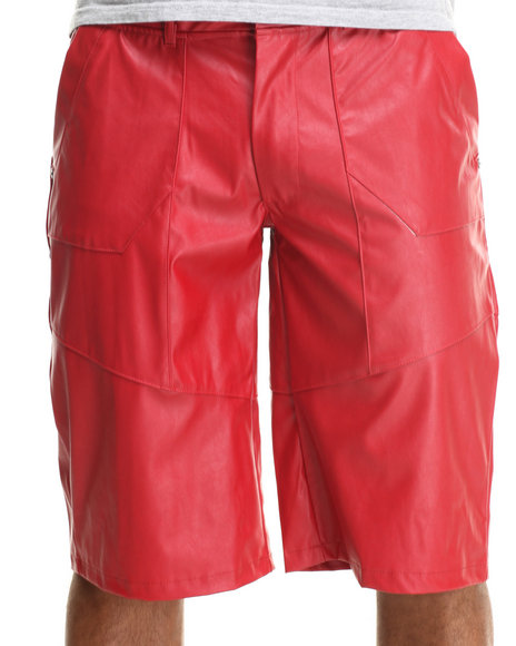 Well Established Red Well Faux Leather Shorts