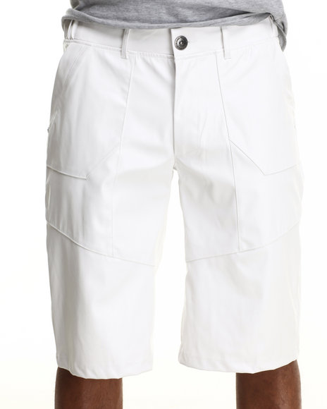 Well Established White Well Faux Leather Shorts