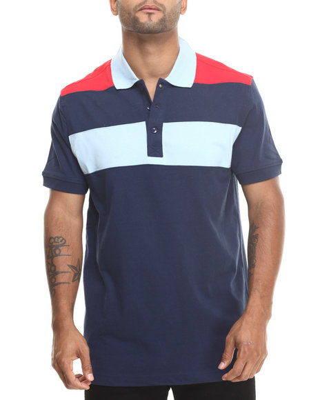 Basic Essentials - Men Navy Basic Striped S/S Polo