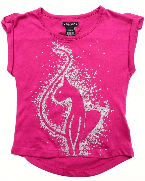 Baby Phat Girls Dark Pink S/S Glitter Kitty Tee (4-6X)