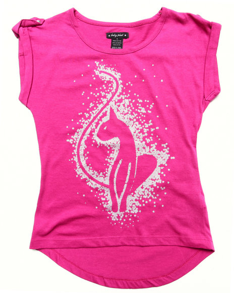 Baby Phat - Girls Dark Pink S/S Glitter Kitty Tee (7-16) - $16.99