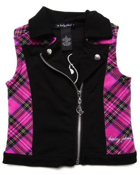 Baby Phat Girls Black Plaid Moto Vest (4-6X)
