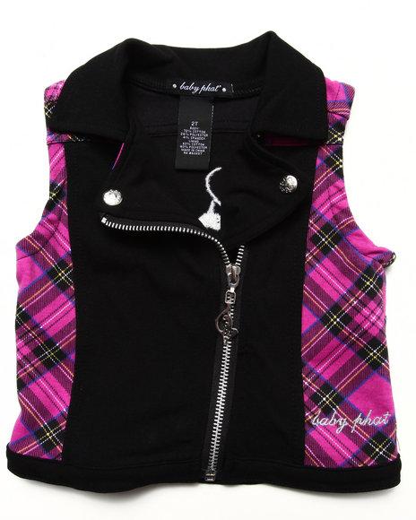 Baby Phat Girls Black Plaid Moto Vest (2T-4T)
