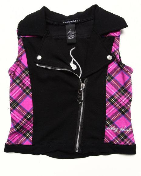 Baby Phat Girls Black Plaid Moto Vest (7-16)