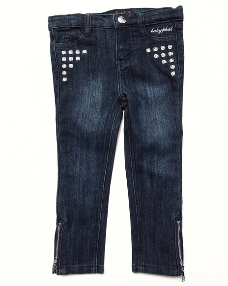 Baby Phat - Girls Dark Wash Studded Denim Pant (2T-4T)