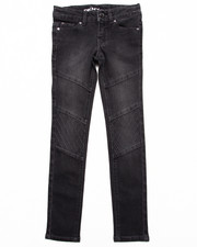 Bottoms - BLACK QUILTED MOTO JEANS (7-16)