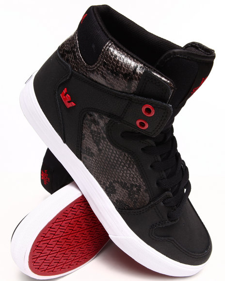 Supra - Vaider Black Nubuck Snakeskin-Embossed Leather Sneakers