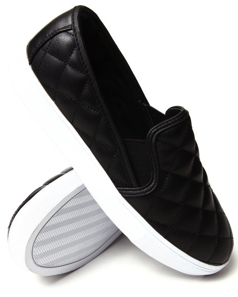 Y.R.U. - Women Black Quilted  Slip On Sneaker