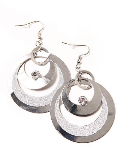 Rampage Women Shiny Glitter Dust Full Moon Earrings Silver