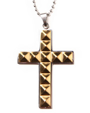"Jewelry & Watches - Stainless Steel 24"" Pyramid Cross Chain"