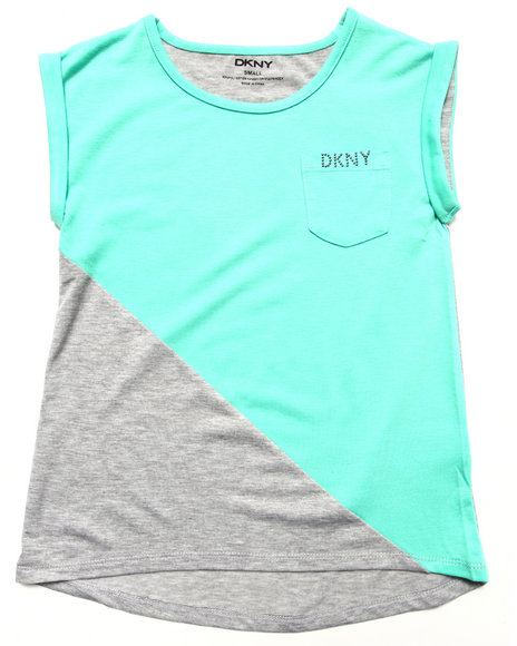 Dkny Jeans - Girls Teal Colorblocked Tee (7-16)