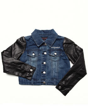 Baby Phat - DENIM JACKET W/ FAUX LEATHER SLEEVES (7-16)