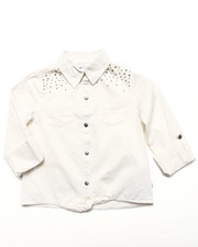 Girls - STUDDED ROLLED TAB SHIRT (7-16)