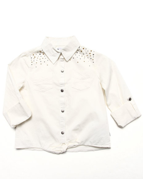 Dkny Jeans - Girls White Studded Rolled Tab Shirt (7-16)