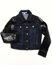 Denim Jackets - DENIM JACKET W/ FAUX LEATHER SLEEVES (7-16)