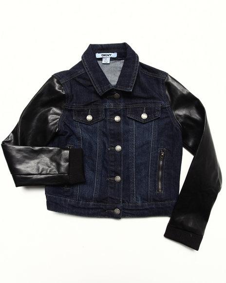 DKNY Jeans Girls Dark Wash Denim Jacket W/ Faux Leather Sleeves (7-16)