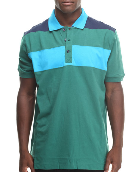Basic Essentials - Men Green Basic Striped S/S Polo