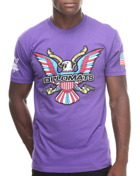 Diplomats - Men Purple Dipset Usa Eagle Logo Tee - $24.99