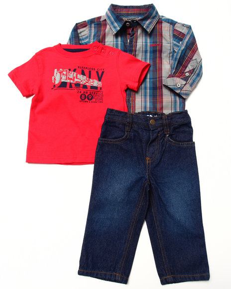DKNY Jeans Boys Red 3 Pc Set Woven, Tee & Jeans (Infant)