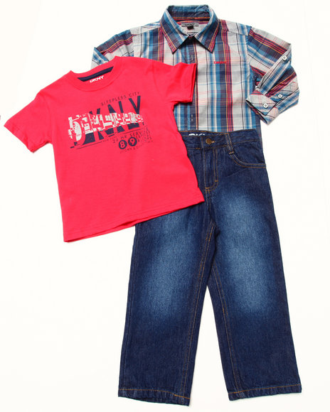 DKNY Jeans Boys Red 3 Pc Set Woven, Tee & Jeans (2T-4T)