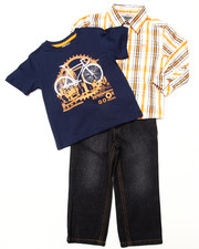 Boys - 3 PC SET - WOVEN, TEE & JEANS (2T-4T)