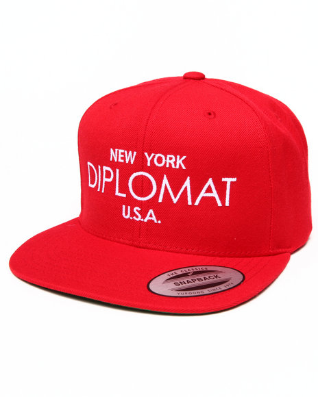 Diplomats Men Ny Diplomat Usa Snapback Cap Red