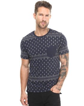 True Religion - Paisley Printed Short Sleeve Pocket Tee w/ Embroidery