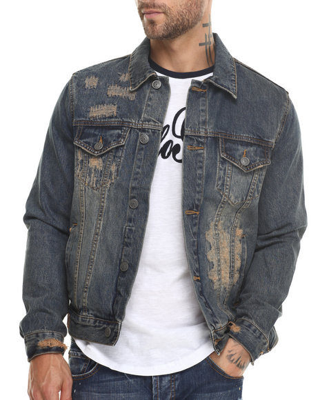 Kilogram - Men Dark Wash Broken Denim Jacket