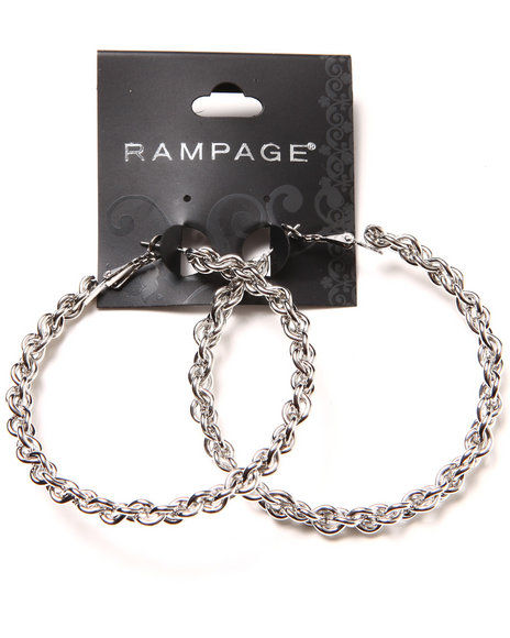 Rampage Braided Oversized Hoop Earrings Silver
