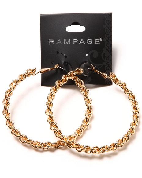 Rampage Braided Oversized Hoop Earrings Gold