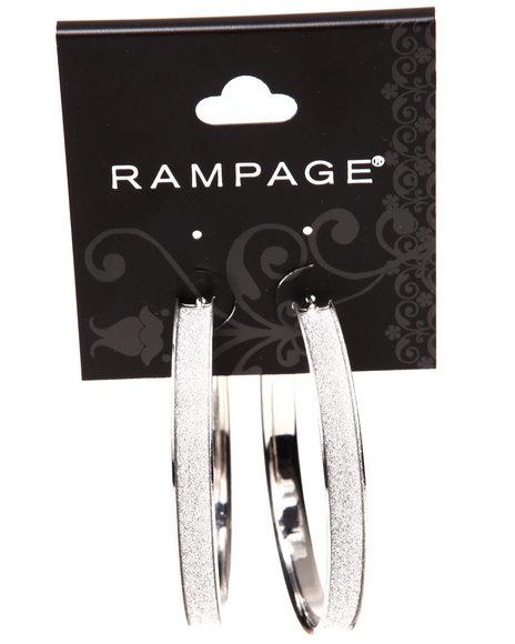 Rampage Women Glitter Trim Wheel Hoop Earrings Silver