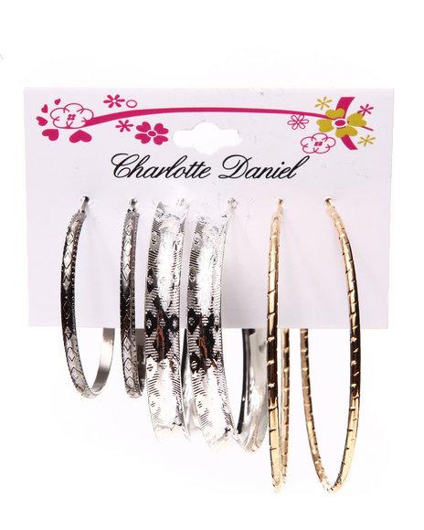 Drj Accessories Shoppe Women 3-Pair Textured Hoop Card Set Gold