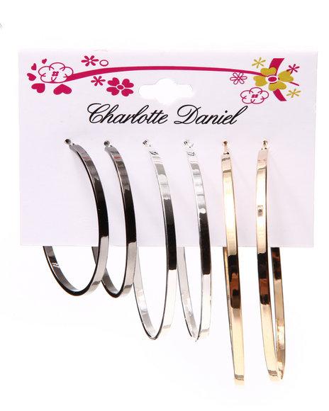 Drj Accessories Shoppe Women 3-Pair Flat Hoop Card Set Gold