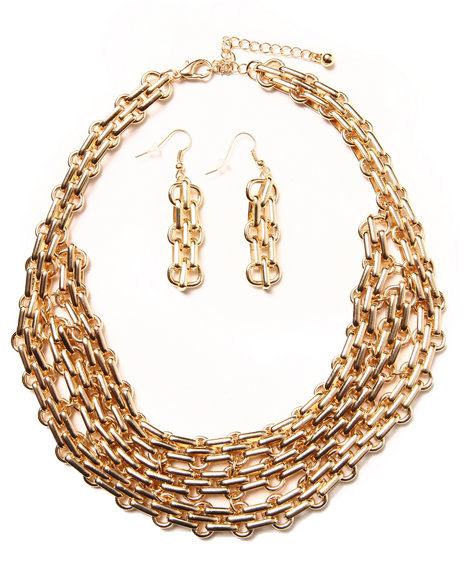 Drj Accessories Shoppe Women Multi Chain Earring/Necklace Set Gold - $22.99
