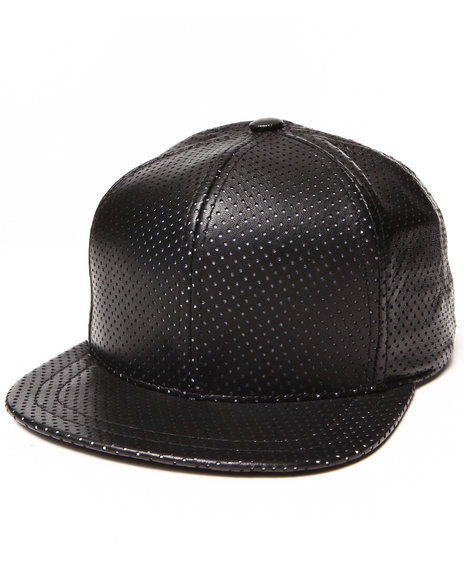 Paislee Men Open Air Leather Perforated Hat Black - $83.99