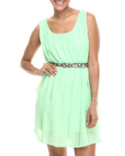 Women - Sleeveless Belted Dress