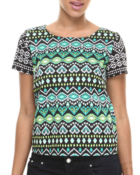 Ali & Kris - Women Green Tribal Aztec Print Knit Top - $7.99